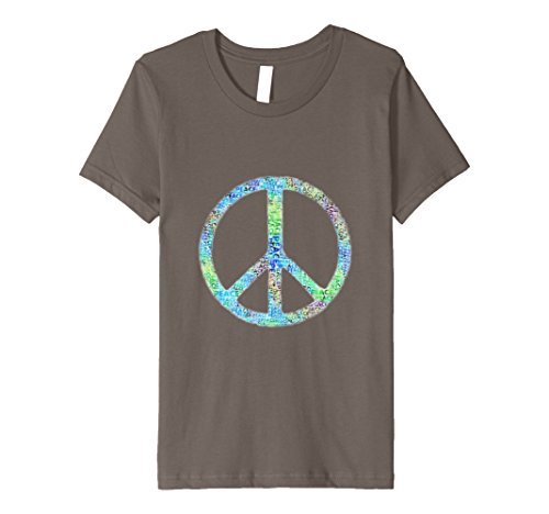 [Kids Retro Groovy Painted Peace Symbol Hippie Gift T-Shirt 6 Asphalt] (Step Back In Time Costumes)