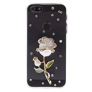 GJYDiamond Look 3D White Ceramic Rose Design Transparent PC Hard Case for iPhone 5/5S