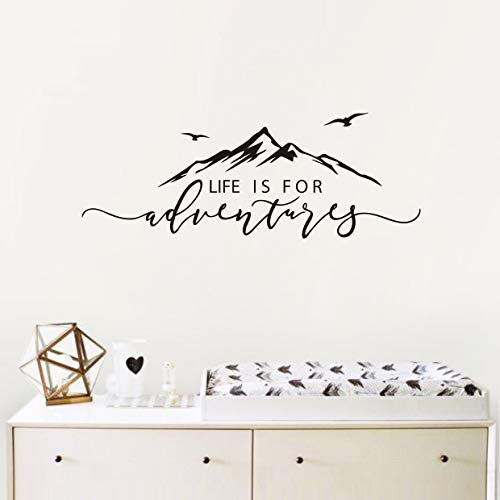 - Life is for Adventures Wall Decal, Quote Decal, Mountain Design Wall Decals, Flying Birds Wall Sticker, Travel Decor, Adventure Decor, Home Decal Wall Stickers(Y15) (57X23cm, Black)