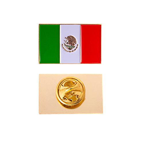 Mexico Country Rectangle Flag Lapel Pin Enamel Made of Metal Souvenir Hat Men Women Patriotic Mexican (Rectangle Pin)