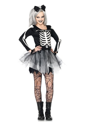 Leg Avenue 2 Piece Sassy Skeleton Bone Tulle Skirt And Headband Dress Set, Black/White, Small/Medium Avenue 2 Piece Skirt