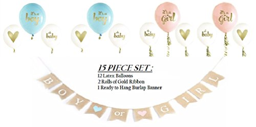 Gender Reveal Baby Shower Party - Boy or Girl Hanging Burlap Banner - Pink It's a Girl Balloons - Blue It's a Boy Balloons - Oh Baby & Gold Heart - Pregnancy Birth Announcement by Jolly Jon ®