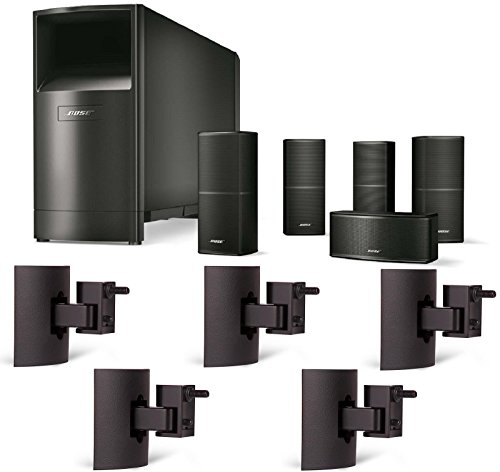 Bose Acoustimass 10 Series V Home Theater Speaker System, Black Bundle with (5) UB-20 Black Wall/Ceiling Brackets by Bose