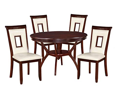 - Major-Q 5Pc Pack Contemporary Style Wooden Cherry Finish Set with Round Pine Wood Dining Table and Cream PU Leather Side Chairs, 9071604