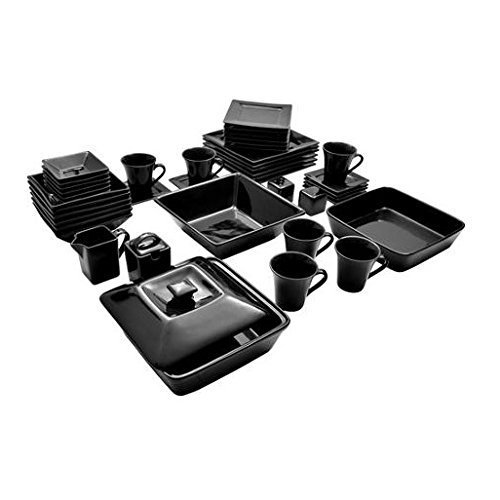 Street Nova Square Banquet 45-piece Dinnerware Set Black the Contemporary Square Shape Creates a Stunning Table and Stores More Compactly Than Traditional Round Dinnerware by 10 Strawberry