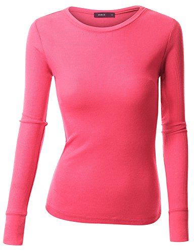 Doublju Womens Long Sleeve Muscle Sweater PINK Lady TopM