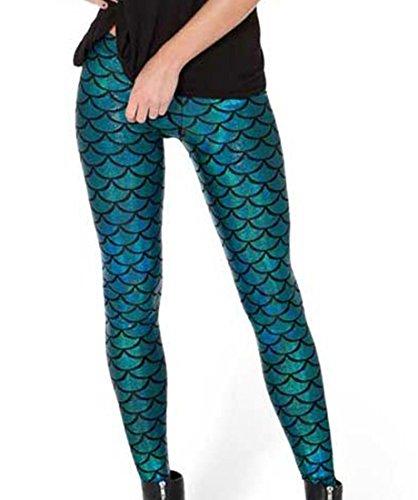 Acediscoball Women's Mermaid Fish Scales Printed Skinny Stretch - Mermaid Scale Leggings