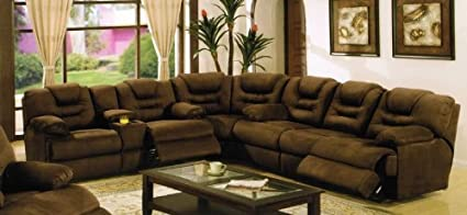 Merveilleux Sectional Recliner Sofa With Cup Holders In Chocolate Microfiber