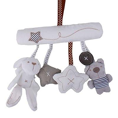 SLDZ Baby Plush Rattle Toy Baby Toy 0-12 Months Infant Newborn Crib Baby Stroller Ornament Plush Animal Music Rattle Baby Stroller Toy: Toys & Games
