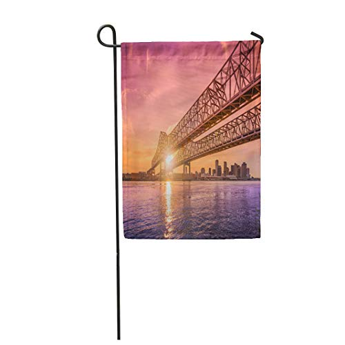 Semtomn Garden Flag 28x40 Inches Print On Two Side Polyester New Orleans Louisiana USA at Crescent City Connection Bridge Over The Home Yard Farm Fade Resistant Outdoor House Decor -