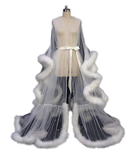 Feather Bridal Robe Tulle Illusion Long Wedding Scarf New Custom Made ... (Ivory)
