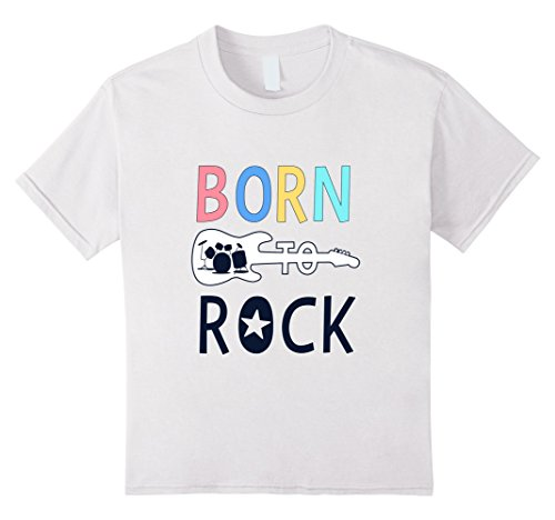 Price comparison product image Kids Born To Be Rock Star Tee - Rock n Roll T-Shirt 4 White