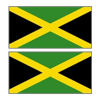 2 jamaica jamaican flag stickers decal bumper window laptop phone auto boat wall