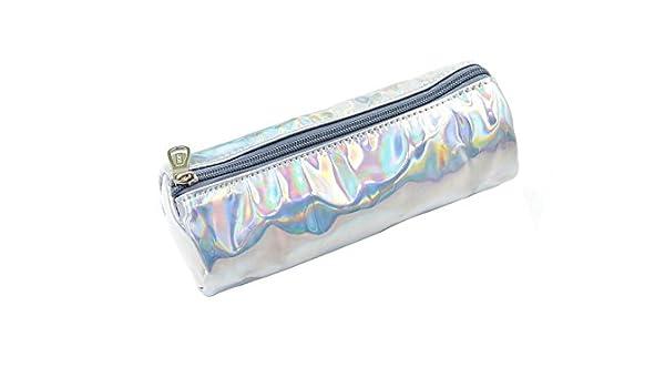 Fishroll Hologram - Estuche para lápices, redondo, láser, color plateado: Amazon.es: Hogar