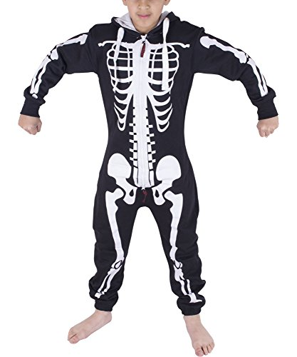 Noroze Boys Girls Kids Hoodie Jumpsuit Onesie One Piece Pajamas (Skeleton Black, 11/12 Years)]()