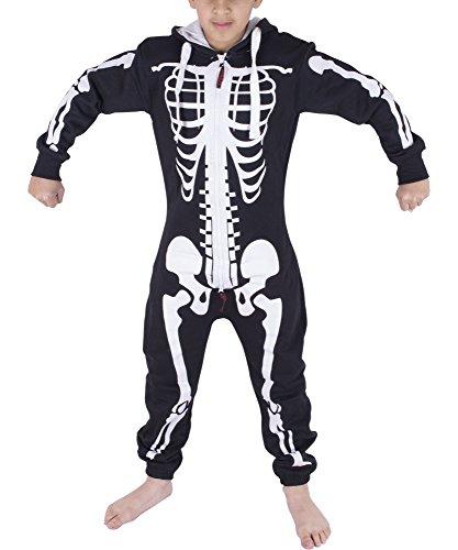 - Noroze Boys Girls Kids Hoodie Jumpsuit Onesie One Piece Pajamas (Skeleton Black, 13 Years)