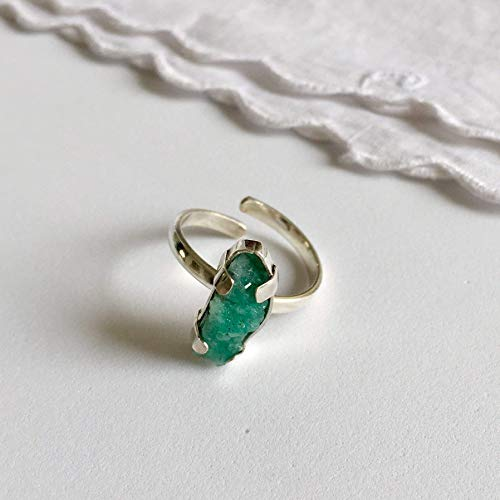- Raw Emerald Ring by D'Mundo Accesorios. On Sale ! May Birthstone. Mother's Day Gift. 16mm x 8/9 mm. Genuine Raw Colombian Emerald with Calcite, Pyrite and Quartz. 925 Sterling Silver Adjustable Ring.