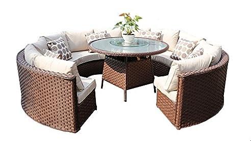 Charming Yakoe 50143 Monaco 10 Sitzer Rund Rattan Gartenmöbel Esstisch Sofa Set U2013  Braun Good Ideas