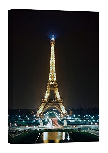 - LightFairy Glow in the Dark Canvas Painting - Stretched and Framed Giclee Wall Art Print - City Urban Decor Eiffel Tower At Night - Master Bedroom Living Room Decor - 6 Hours Glow - 24 x 36 inch