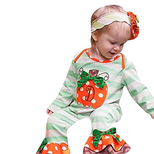 MOONHOUSE Toddler Kids Baby Girls ❤️❤️ Halloween Pumpkin Striped Dot Romper Jumpsuit Cosplay Costume ❤️❤️ Party Outfits Set (18-24 M, Green)