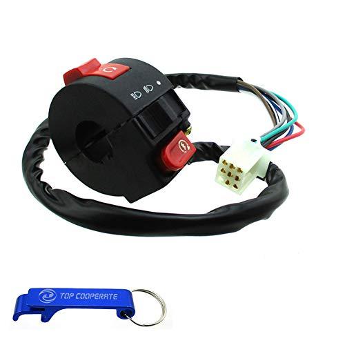 TC-Motor 3 Function 8 Wire Handle Kill Light Start Switch For Chinese 50cc 70cc 90cc 110cc ATV Quad Kazuma Taotao Coolster