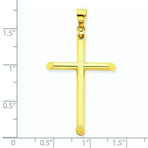 3-D 14 carats poli creux Pendentif croix-Dimensions :  24,3 x 44,6-JewelryWeb mm
