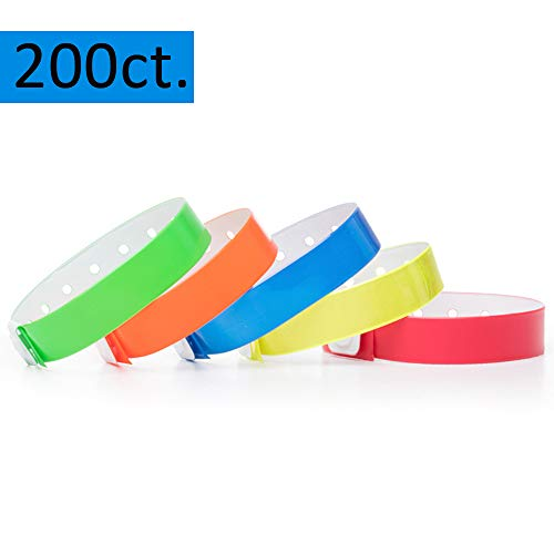 (Ouchan Multicolor Plastic Wristbands Variety Pack- 200 Pack Vinyl Wristbands for Parties Events)