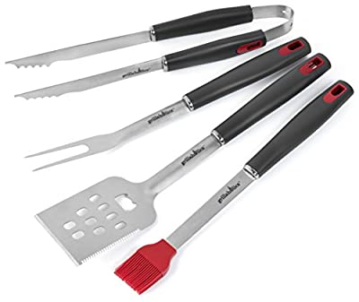 Grillaholics Grill Set - 4-Piece BBQ Tools - Heavy Duty Stainless-Steel Utensils - Premium Grilling Accessories for Barbecue - Spatula, Tongs, Fork, and Basting Brush