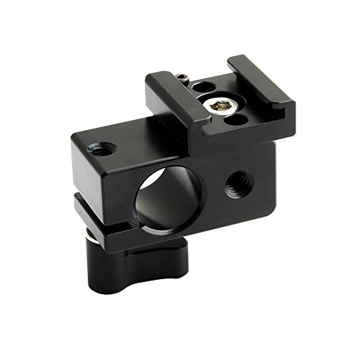 NICEYRIG 15mm Rod Clamp with Cold Shoe Mount Adapter for Camera DSLR Rig Flash Led Light Monitor Video and More