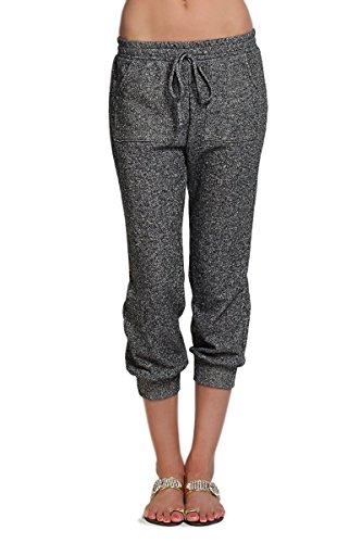 TheMogan Women's Elastic Waist Jogger Cropped Sweat Pants - Black - Large