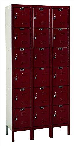 Hallowell U3288-6A-MN Premium Box KD Metal Locker, Unassembled, 3-Wide Grouping, 6 Tier, 12