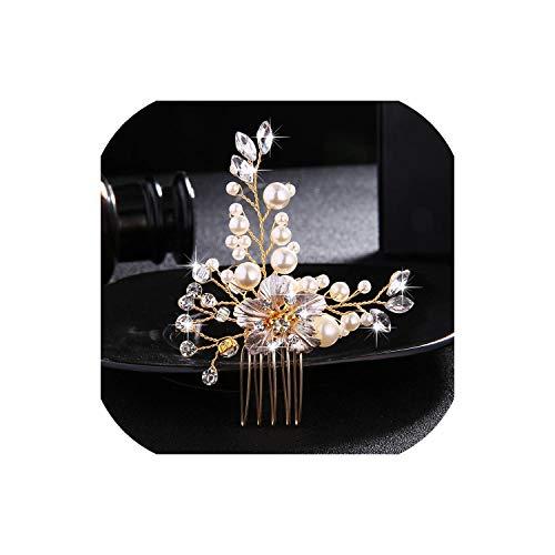 Perfect-Mood Wedding Crystal Peals Hair Combs Bridal Hair