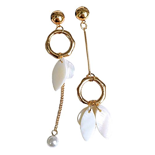 [Myun Statement Gold Tone White Shell Pearl Drop Dangle Earrings Stud for Women Fashion Jewelry] (Simple Halloween Costumes For High School)