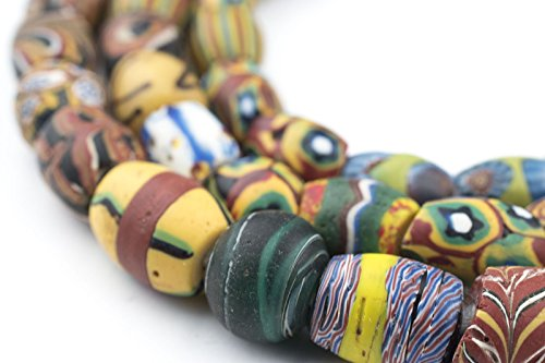 Millefiori Trade Beads (Oval Antique Venetian African Millefiori Trade Beads - Full Strand of Glass Beads - The Bead Chest)
