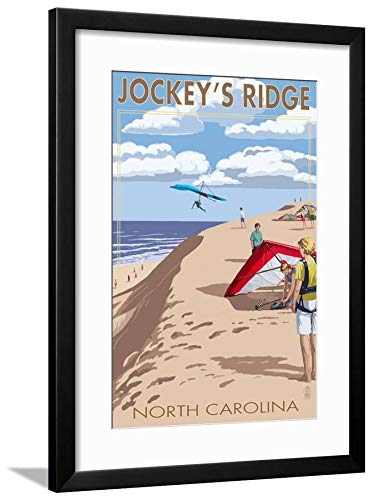 ArtEdge Jockey's Ridge Hang Gliders-Outer Banks, North Carolina Black Framed Matted Wall Art Print, 24x18 in
