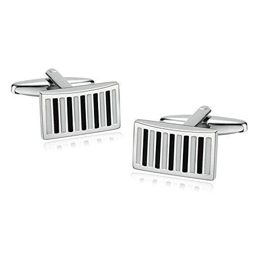 - Aooaz Stainless Steel Cufflinks For Mens Enamel Bar Rectangle Black White Cufflinks Wedding With Gift Box