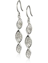 Sterling Silver Diamond Spiral Drop Earrings (1/3 Cttw, I-J Color, I2-I3 Clarity)