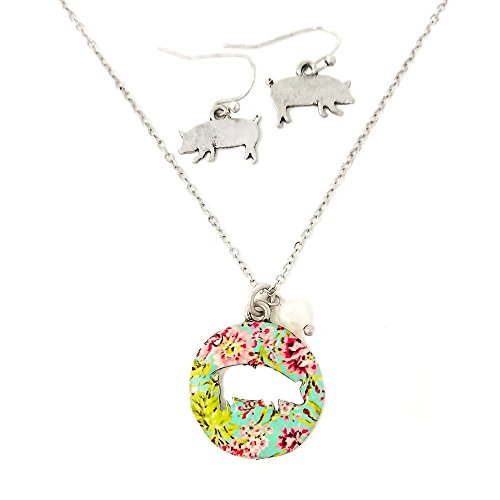 Pig Floral (Emulily Floral Pig Cutout Necklace set with Pearl Charm Farm animal (Silver Burnish))