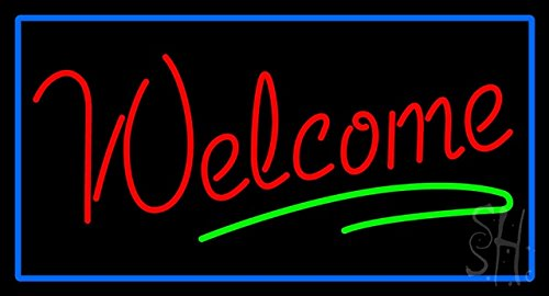 """Welcome Rectangle Blue Clear Backing Neon Sign 20"""" Tall x 37"""" Wide"""