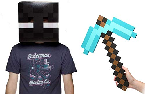 (Minecraft Enderman Head & Diamond Pickaxe Costume)