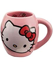 Vandor 18062 Hello Kitty 18 oz Oval Ceramicl Mug, Pink, White, and Red - SS-VG-18062