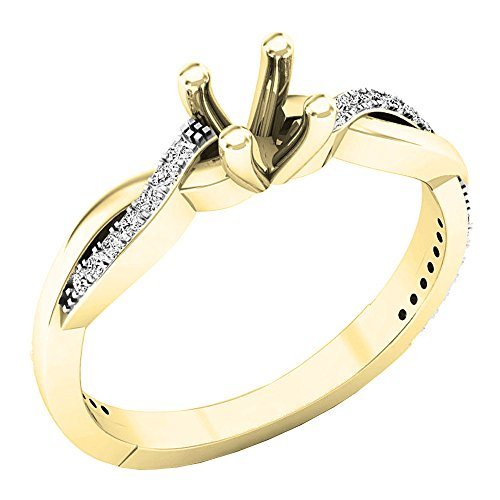 0.15 Carat (ctw) 18K Gold Round Cut Diamond Bridal Semi Mount Engagement Ring