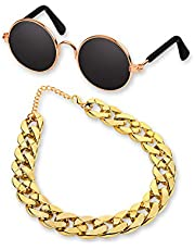 DS. DISTINCTIVE STYLE Retro Round Sunglasses with Golden Chain for Pet Cats and Small Dogs Cool and Funny Spectacles Pets Photo Props for Taking Pictures