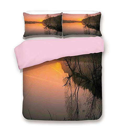 Pink Duvet Cover Set,Twin Size,Morning Sunrise Tree Silhouettes