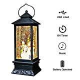 DDXJ Singing Snow Globe Battery and USB Powered Lighted Water Lantern 12 Inch Tall, Glittering with Music Snow Globe for Kids, Water Snow Glitter Globe for Christmas Decoraton, Snowman
