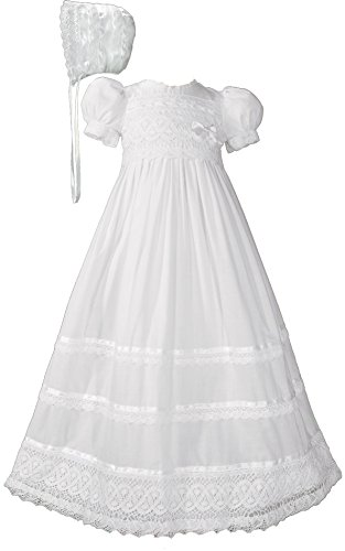 30'' Cotton Batiste White Christening Baptism Gown with Cluny Trim and Bonnet - 18 Month (23-25 lbs) by Little Things Mean A Lot