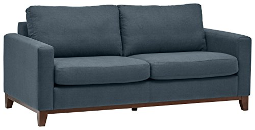 Rivet North End Exposed Wood Modern Sofa, 78″ W, Denim