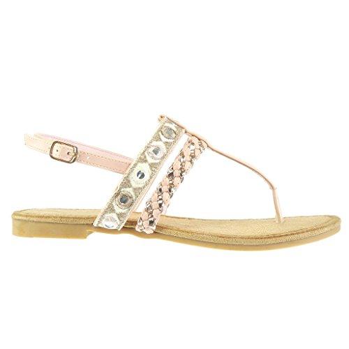 Angkorly - Scarpe da Moda sandali infradito donna ricamo intrecciato multi-briglia Tacco a blocco 1.5 CM - Rosa