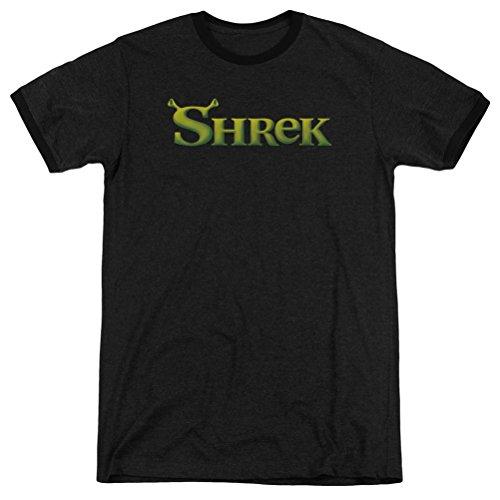 (A&E Designs Shrek Logo Ringer Shirt, Black, Medium)