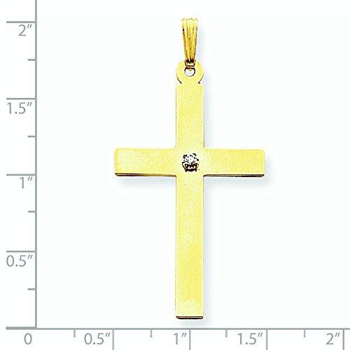 .03ct. brut poli 14 carats-Diamant-Croix mesures 25,1 x 50 mm-JewelryWeb